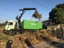 Camió grua recollint restes vegetals